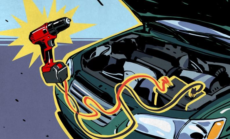 Ponga en marcha su automóvil con una batería de taladro
