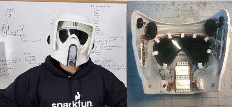 Stormtrooper Helmet Voice Changer usa Teensy para comer audio